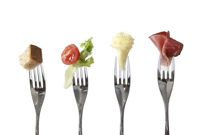 Forks with different food groups
