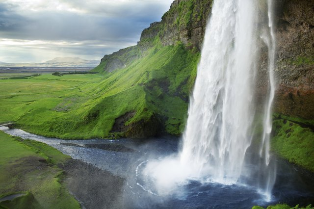 Waterfall of natural spring water in Iceland.