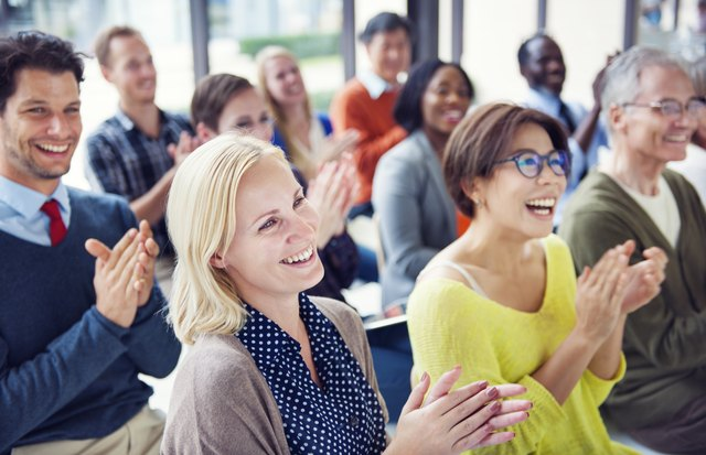 Get the attention of a crowd by speaking more assertively.