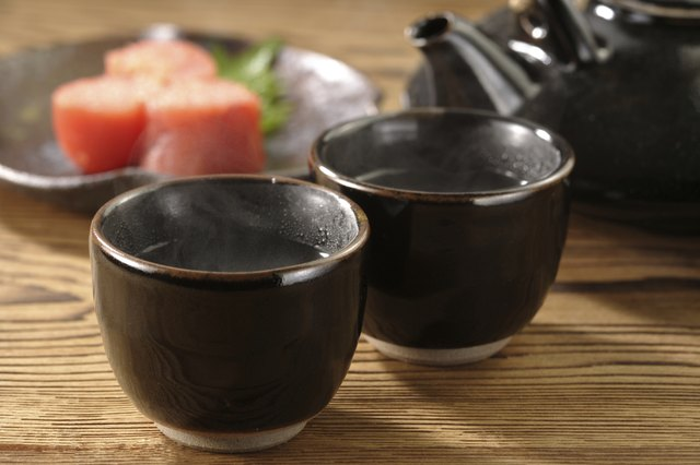 Cups of hot sake.