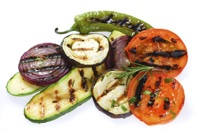 Grilled vegetables are part of a healthy meal.