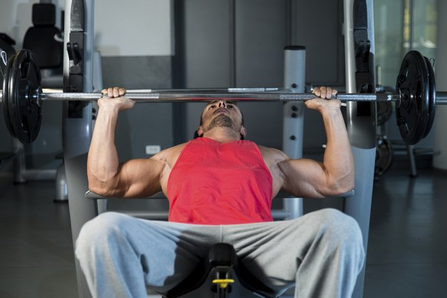 Perform weight training exercises that target the chest.