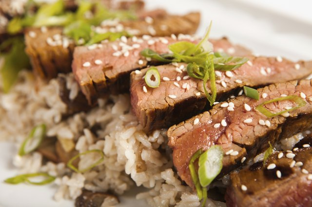Steak with rice and herbs