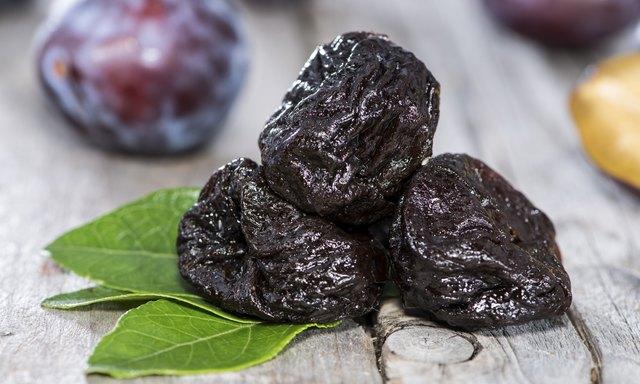 three dried prunes