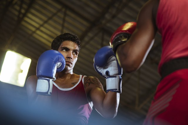 How long will it take to lose weight while taking boxing classes two men sparring in boxing ring ccuart Choice Image