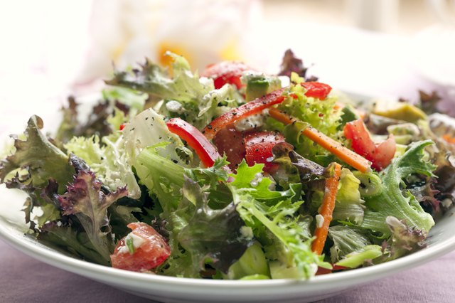 Use raw greens, such as Romaine lettuce, fresh spinach, arugula and mixed baby greens as foundations for salads.