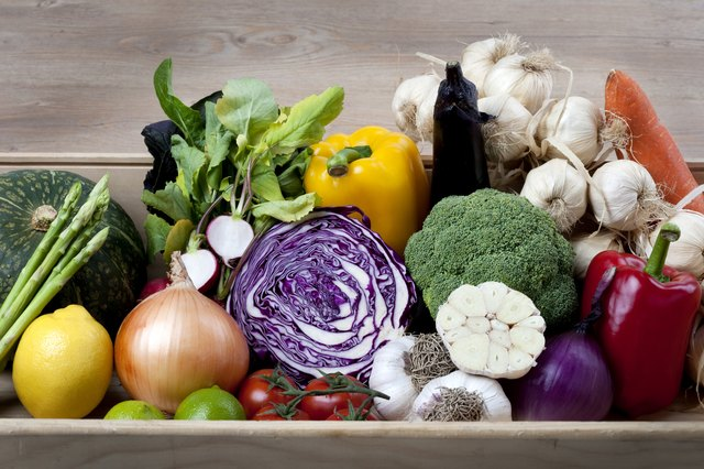 Box of various vegetables