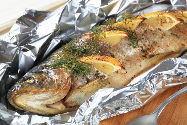 Oven baked trout stuffed with lemon and dill