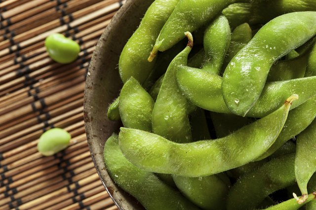 Cooked edamame with salt