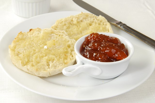 Toasted English Muffins with a side of jam