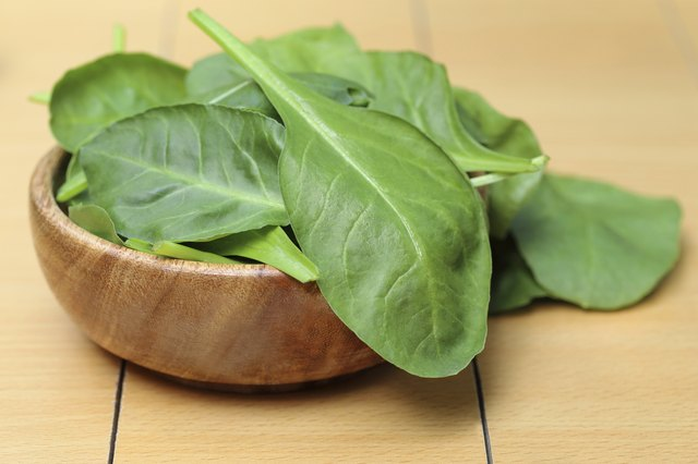 small bowl of spinach leaves