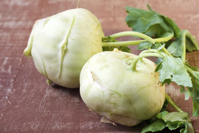 two heads of kohlrabi cabbage