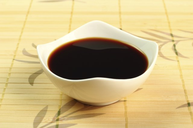 A dish of soy sauce.