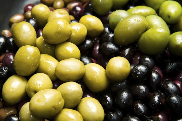 Green and black olives.