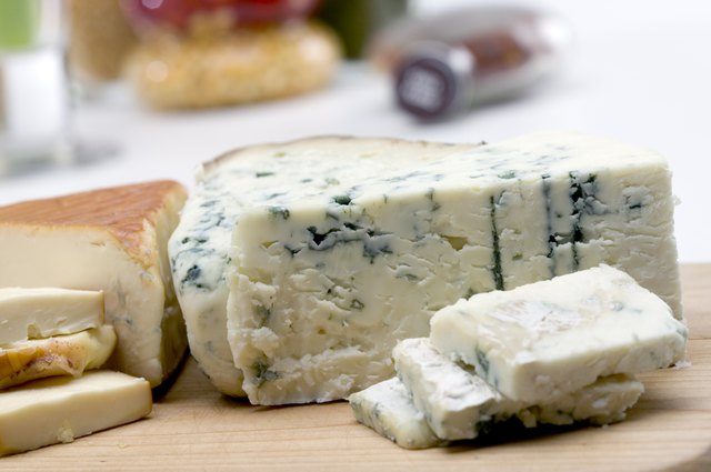 blue cheese on cutting board