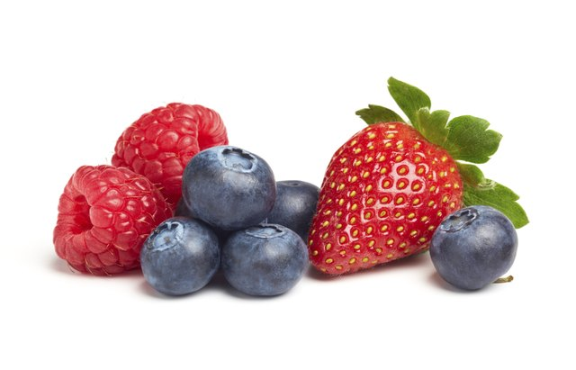 Blueberries and strawberries.