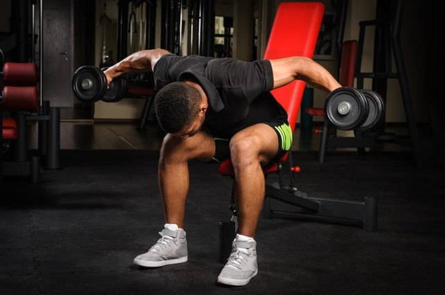 Bent over rear delt raises can also be done seated.