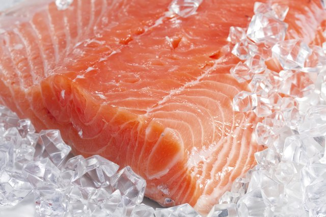 Wild salmon on ice