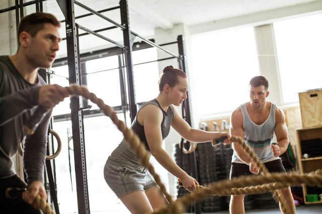 Doing battling rope exercises is a great way to burn 500 calories pretty quickly!