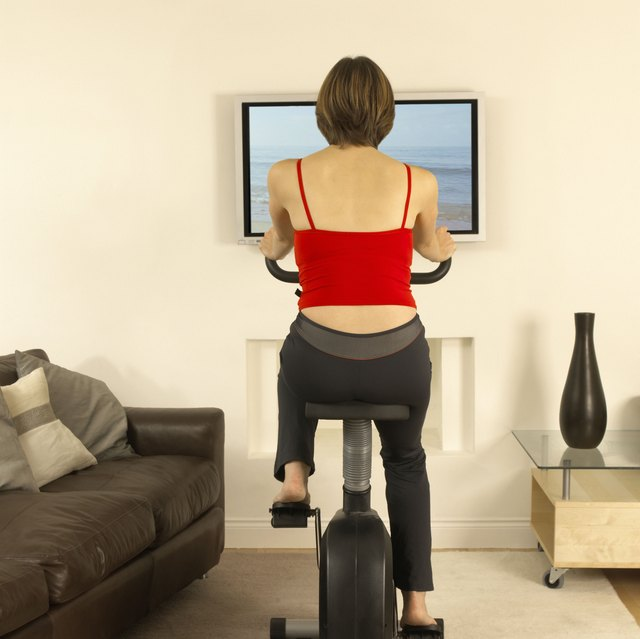 Biking inside can be boring but a TV could help.