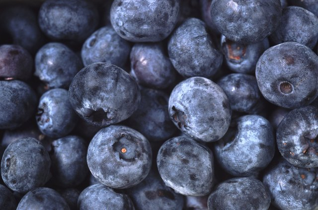 A close up of blueberries.