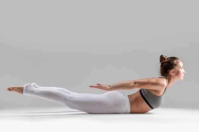 Locust pose is a powerful chest-opening posture.