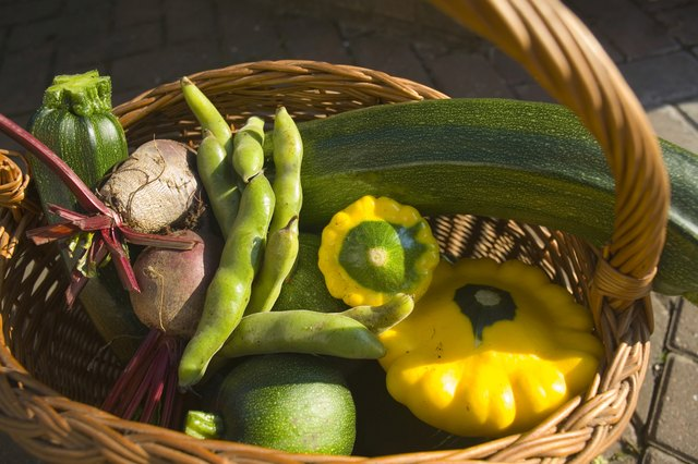 A basket full of summer squash, fava beans, and red beets on a sunny outdoor table.