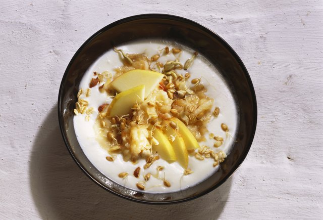 Add walnuts, dried fruit or flaxseed to increase the calories in yogurt.