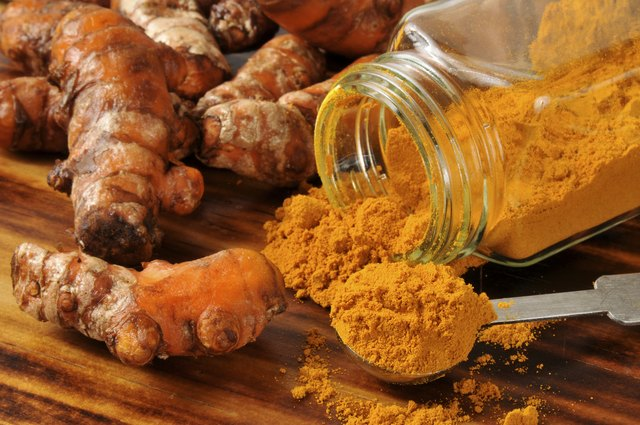 Fresh turmeric root and ground powder