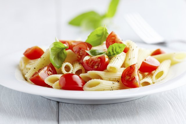 Penne pasta with cherry tomatoes