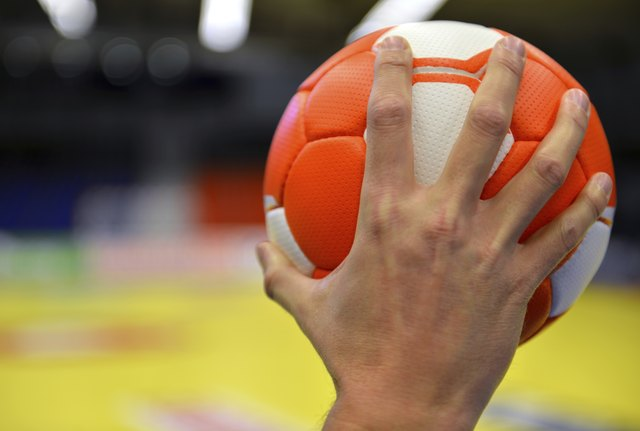 Close up of handball player about to throw ball