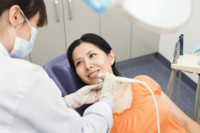 Dentist examining a woman's mouth.