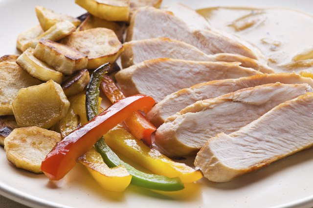 Sliced turkey and vegetables