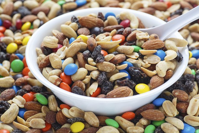 Trail mix with chocolate.