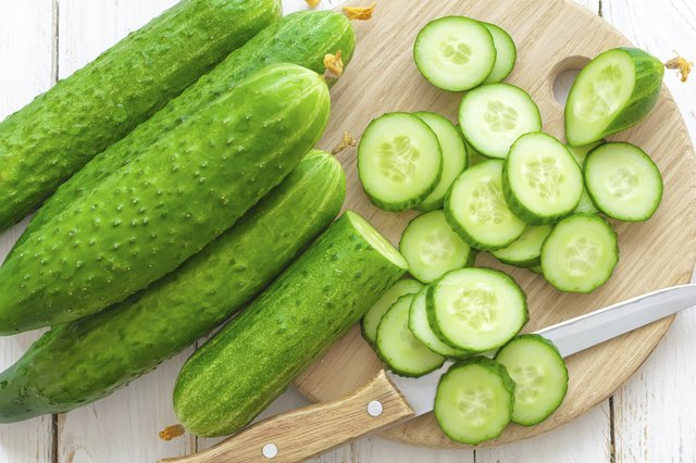 freshly sliced cucumbers