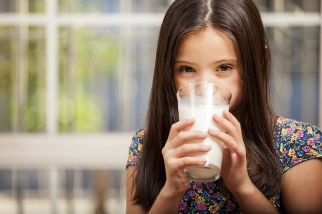 Young girl drinking a glass of milk