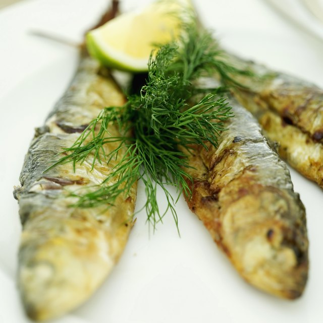 A close up of fried herring.