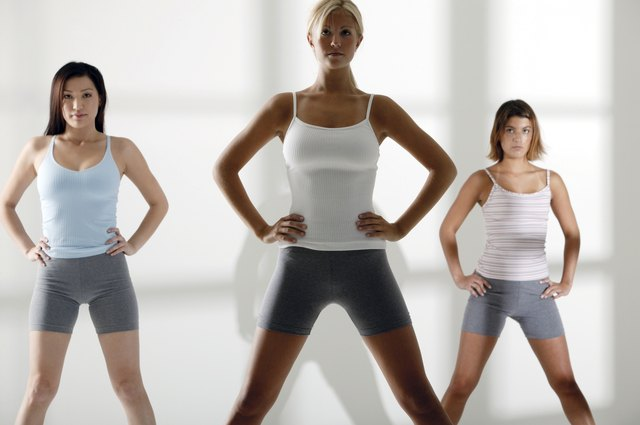 Women prepare to start their Jazzercise class.