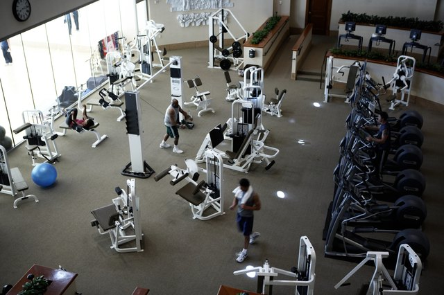 People working out at a fitness club