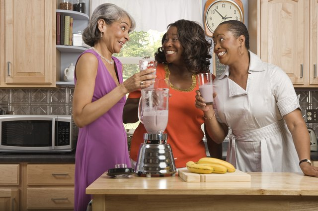 Throw bananas, berries, milk and low-fat yogurt into the blender for a liquid meal.