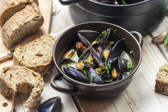 shellfish such as mussels are high in iron
