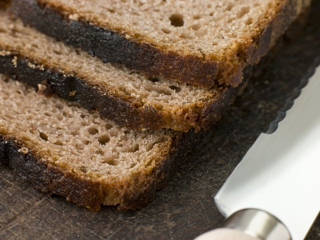 close up of sliced rye bread