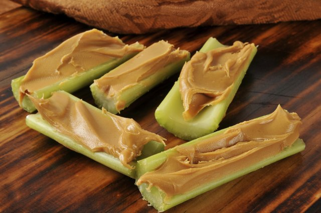 Celery sticks filled with peanut butter