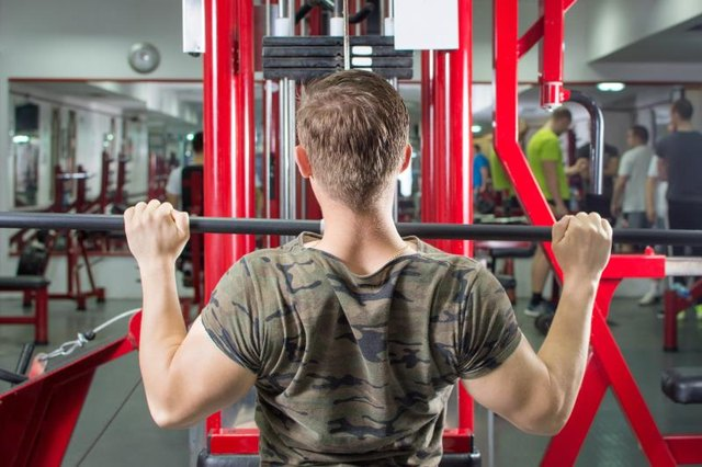 Lat pull downs strengthen the latissimus dorsi muscle, which helps with adduction.
