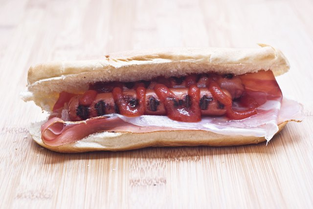 Grilled hot dog with ketchup