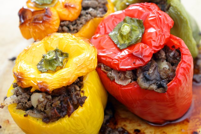 Stuffed peppers with ground beef, mushrooms, onions and celery