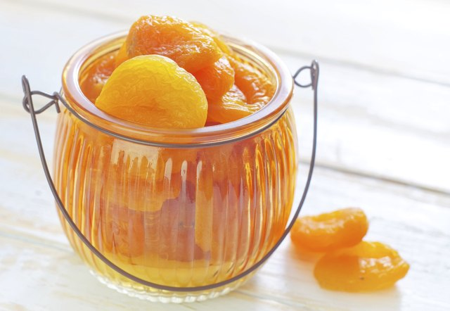 Dried apricots in glass bowl