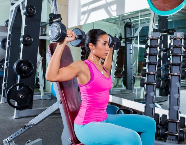 Do the shoulder press standing or seated.