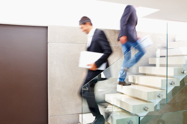 Colleagues taking the stairs