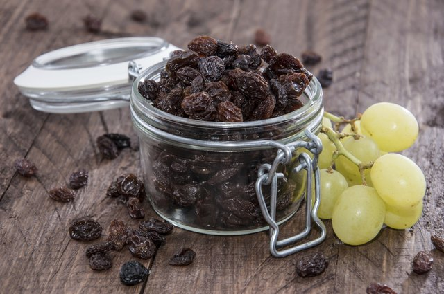 Raisins in a glass jar